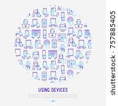 using devices concept in circle ... | Shutterstock .eps vector #757885405