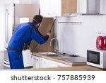 pest control worker in uniform... | Shutterstock . vector #757885939