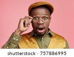 shocked dark skinned business... | Shutterstock . vector #757886995