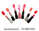 six lipsticks in stickers and...   Shutterstock . vector #757887094