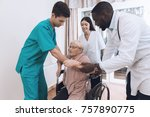 the nurse helps an elderly... | Shutterstock . vector #757890775