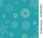 seamless pattern. snowflakes.... | Shutterstock .eps vector #757892467