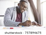 smiling dark skinned male... | Shutterstock . vector #757894675