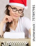 young lady in santa claus hat... | Shutterstock . vector #757897981