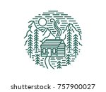 wooden cabin in the woods ... | Shutterstock .eps vector #757900027
