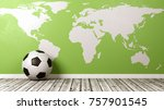 classic soccer ball on wooden... | Shutterstock . vector #757901545