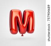 balloon letter m uppercase. 3d...   Shutterstock . vector #757904689
