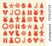 flat christmas icons seamless... | Shutterstock .eps vector #757913719