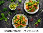fresh salmon salad with avocado ... | Shutterstock . vector #757918315