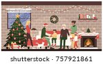 people celebrating christmas... | Shutterstock .eps vector #757921861