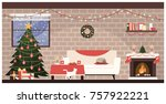 traditional home interior at...   Shutterstock .eps vector #757922221