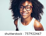 smiling young african girl with ... | Shutterstock . vector #757922467