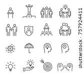 people icons line work group... | Shutterstock .eps vector #757924411