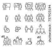 people icons line work group... | Shutterstock .eps vector #757925194