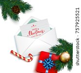 open envelope with card merry... | Shutterstock .eps vector #757925521