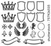 vintage monochrome heraldic... | Shutterstock .eps vector #757926535