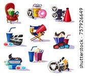colorful cinema elements set...   Shutterstock .eps vector #757926649