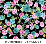 flower pattern black background   Shutterstock . vector #757932715