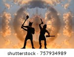 Two Silhouettes Of Armed Old...