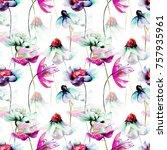 floral seamless pattern ... | Shutterstock . vector #757935961