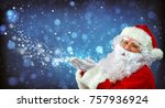 happy santa claus blowing ... | Shutterstock . vector #757936924