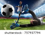 goalkeeper kicks the ball in... | Shutterstock . vector #757937794