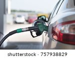 refueling white silver car at... | Shutterstock . vector #757938829