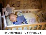 adorable newborn baby boy ... | Shutterstock . vector #757948195
