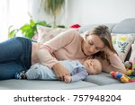 cute baby boy and his mother ... | Shutterstock . vector #757948204