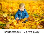 happy kid playing sitting in... | Shutterstock . vector #757951639