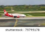 DUSSELDORF, GERMANY - APRIL 15: Airplane Boeing 737-76J landed in the airport on April, 15 2011 in Dusseldorf. The AirBerlin is the second largest airline in Germany. - stock photo