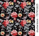 flower pattern black background | Shutterstock . vector #757951825