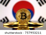 Small photo of Physical version of Bitcoin (new virtual money) and South Korea Flag. Conceptual image for investors in cryptocurrency and Blockchain Technology in South Korea.