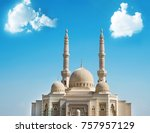 mosque with beautiful blue sky... | Shutterstock . vector #757957129