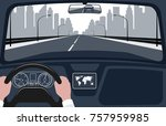 view of the road from the car... | Shutterstock .eps vector #757959985
