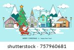 merry christmas greeting card.  ... | Shutterstock .eps vector #757960681