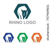 rhino rhinoceros hexagon...   Shutterstock .eps vector #757969831