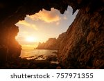 incredible sunset from the cave | Shutterstock . vector #757971355