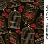 embroidery bird's cages and... | Shutterstock .eps vector #757975651