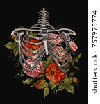 embroidery human rib cage with... | Shutterstock .eps vector #757975774