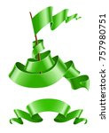 flapping flag and ribbon green...   Shutterstock . vector #757980751
