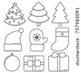 set of christmas and new year... | Shutterstock .eps vector #757983091