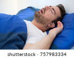 face close up of snoring man... | Shutterstock . vector #757983334
