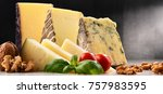 different sorts of cheese on... | Shutterstock . vector #757983595