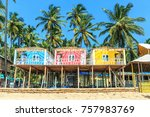 colorful bungalows on palolem... | Shutterstock . vector #757983769