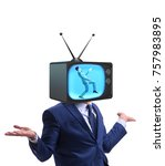Small photo of Man with television head in tv addiction concept