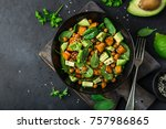 avocado  quinoa  roasted sweet... | Shutterstock . vector #757986865