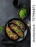 grilled glazed eggplants on... | Shutterstock . vector #757986871