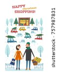 happy christmas shopping.... | Shutterstock .eps vector #757987831