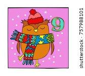 advent calendar. owl. knitted... | Shutterstock .eps vector #757988101